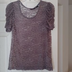 UltraFlirt- Grey Lace Blouse with Ruched Sleeves